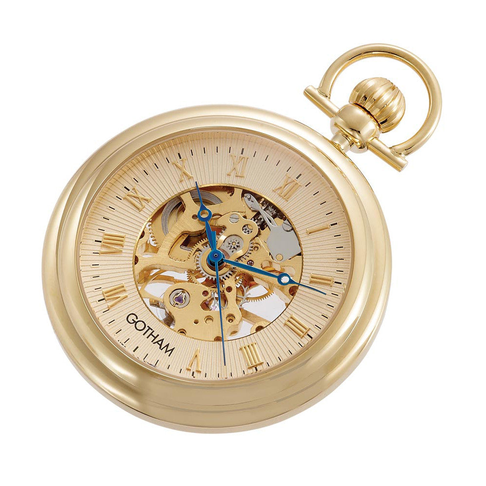 Gotham Men's Gold-Tone 17 Jewel Exhibition Mechanical Pocket Watch with Built-In Stand # GWC14055G - Gotham Watch