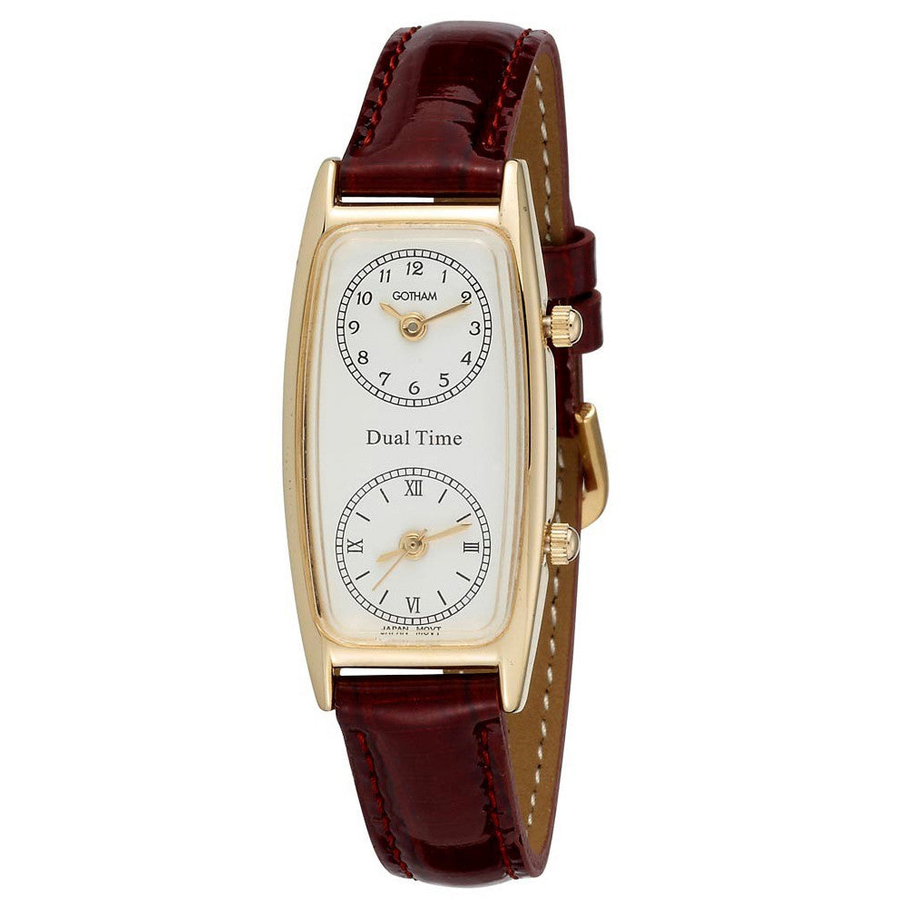 Gotham Women's Gold-Tone Dual Time Zone Leather Strap Watch # GWC15091GB - Gotham Watch