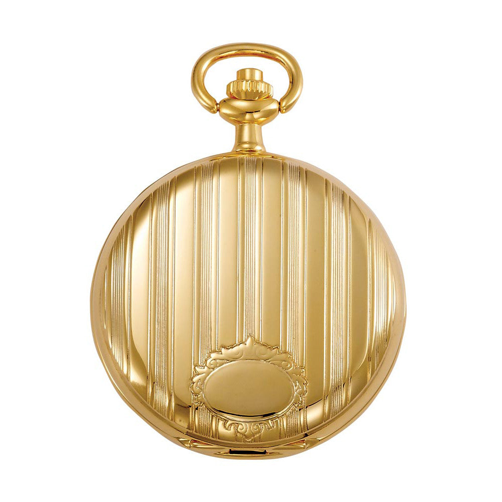 Gotham Men's Gold-Tone Polished Finish White Dial Covered Quartz Pocket Watch # GWC15442GA