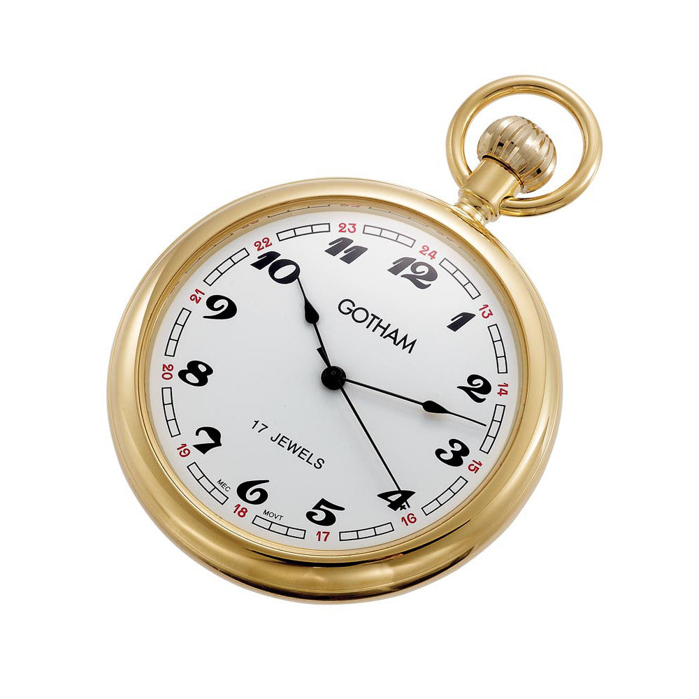Gotham Men's Gold-Tone Mechanical Pocket Watch with Desktop Stand # GWC14048G-ST - Gotham Watch