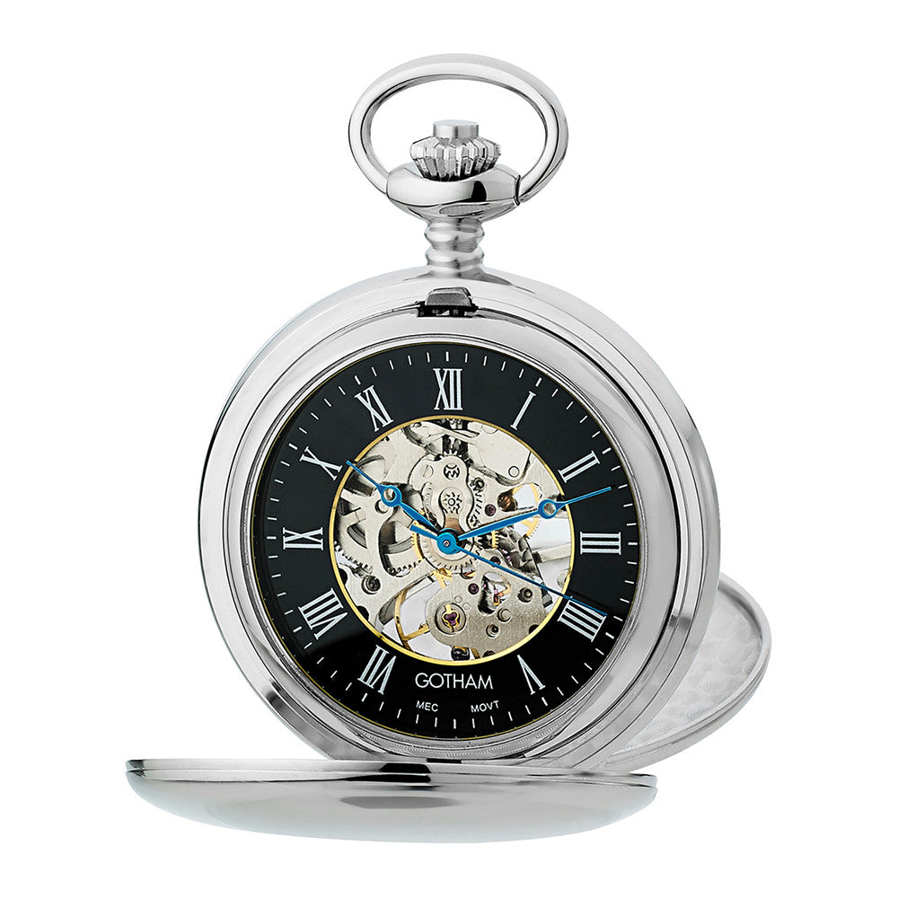 Gotham Men's Silver-Tone Mechanical Pocket Watch with Desktop Stand # GWC14050SB-ST