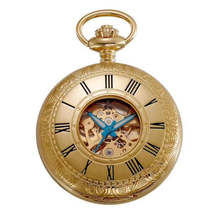 Gotham Men's Gold-Tone 17 Jewel Mechanical Covered Pocket Watch # GWC14036G