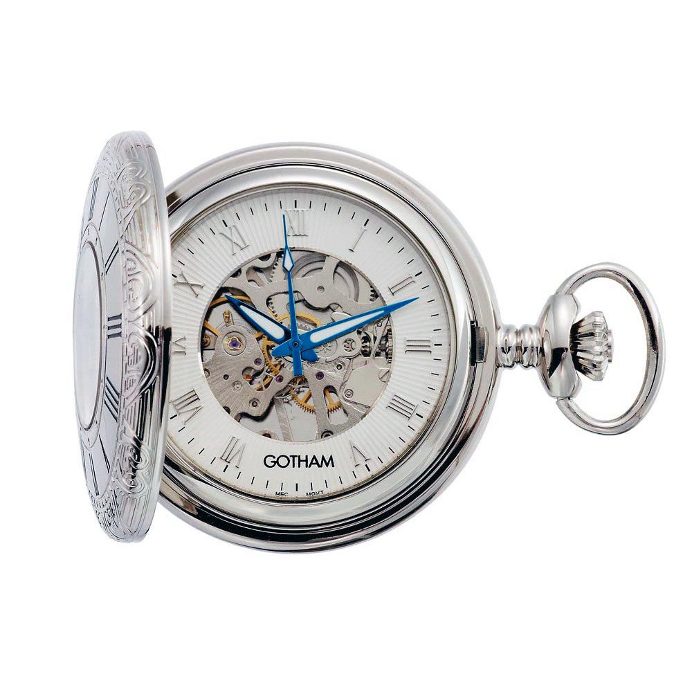 Gotham Men's Silver-Tone 17 Jewel Mechanical Covered Pocket Watch # GWC14036S - Gotham Watch