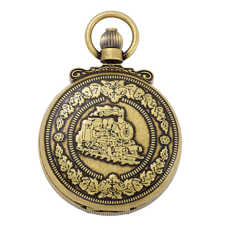 Gotham Men's Antique Gold-Tone Double Cover Exhibition Mechanical Pocket Watch # GWC14065G - Gotham Watch