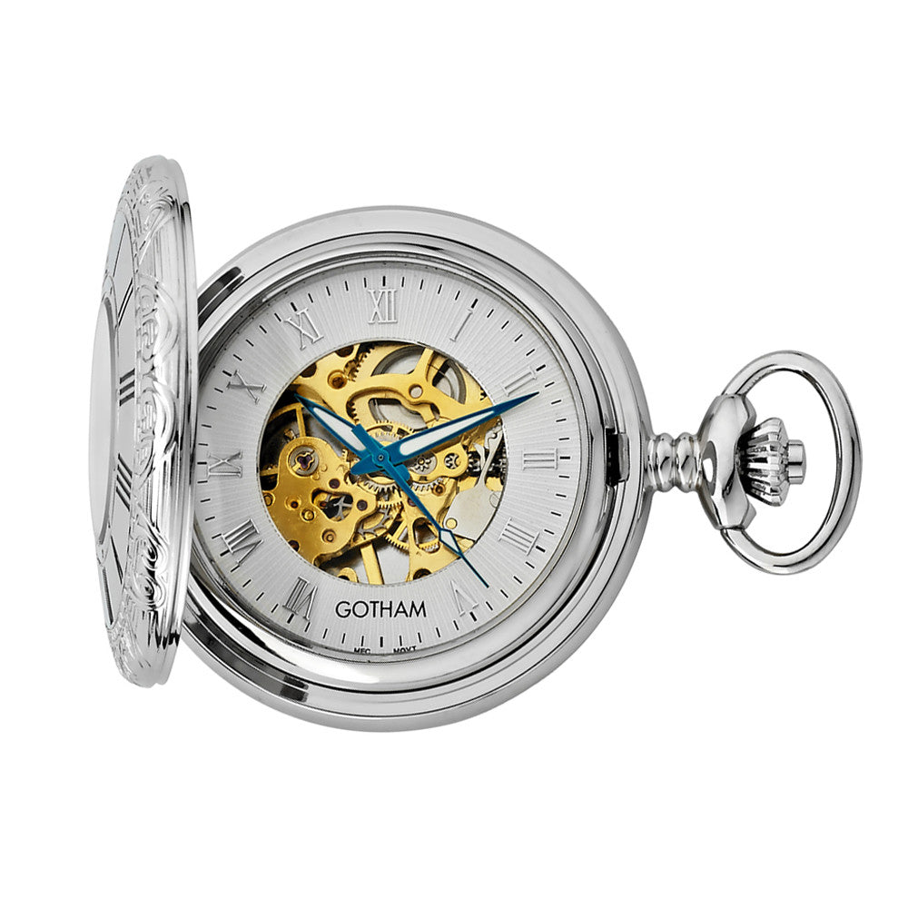 Gotham Men's Silver-Tone Mechanical Pocket Watch with Desktop Stand # GWC14036SG-ST - Gotham Watch