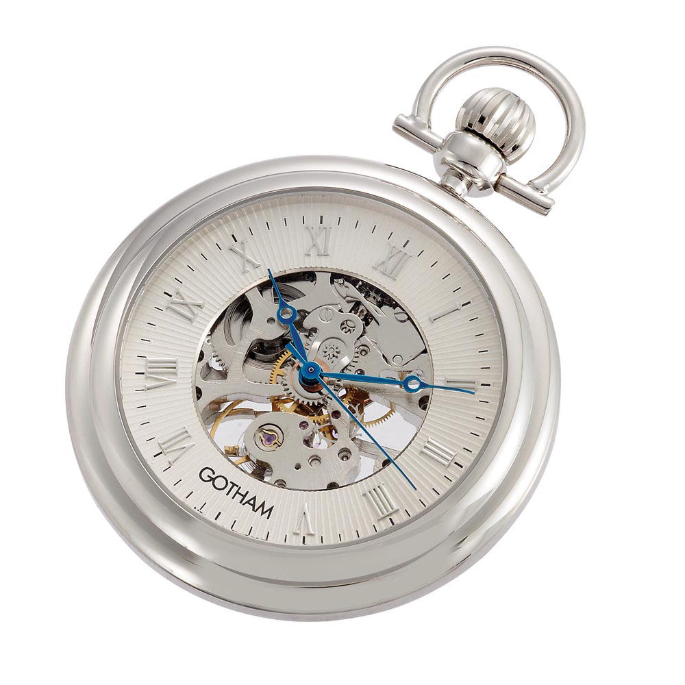 Gotham Men's Silver-Tone 17 Jewel Exhibition Mechanical Pocket Watch with Built-In Stand # GWC14055S - Gotham Watch