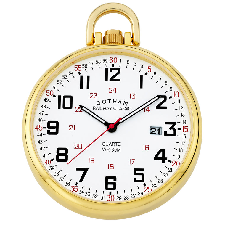 Gotham Men's Gold Plated Stainless Steel Analog Quartz Date Railroad Style Pocket Watch # GWC14107G - Gotham Watch