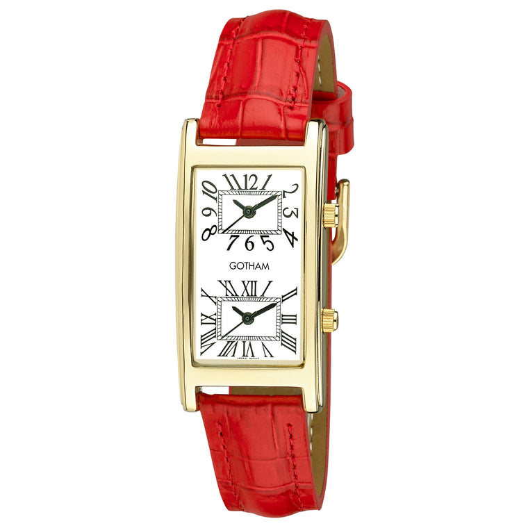 Gotham Woman's Gold-Tone Dual Time Red Leather Strap Watch # GWC15090GR - Gotham Watch