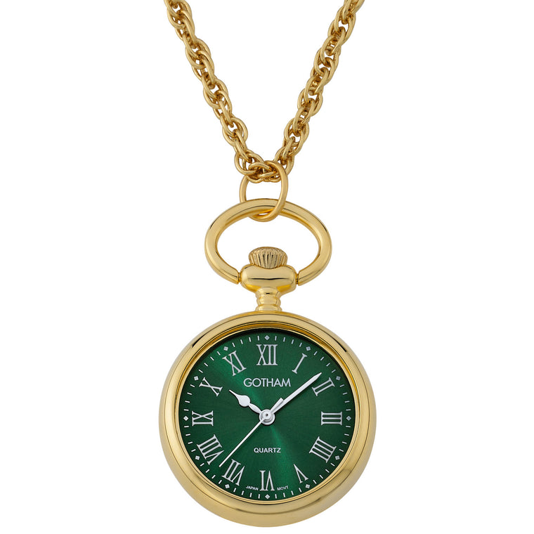 Gotham Women's Gold-Tone Open Face Pendant Watch with Chain # GWC14140GR