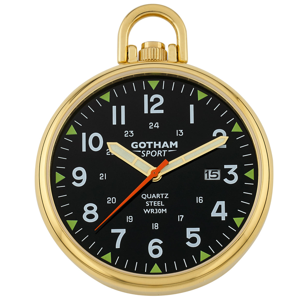 Gotham Men's Sport Series Gold-Plated Stainless Steel Analog Quartz Date Pocket Watch # GWC14109GB - Gotham Watch