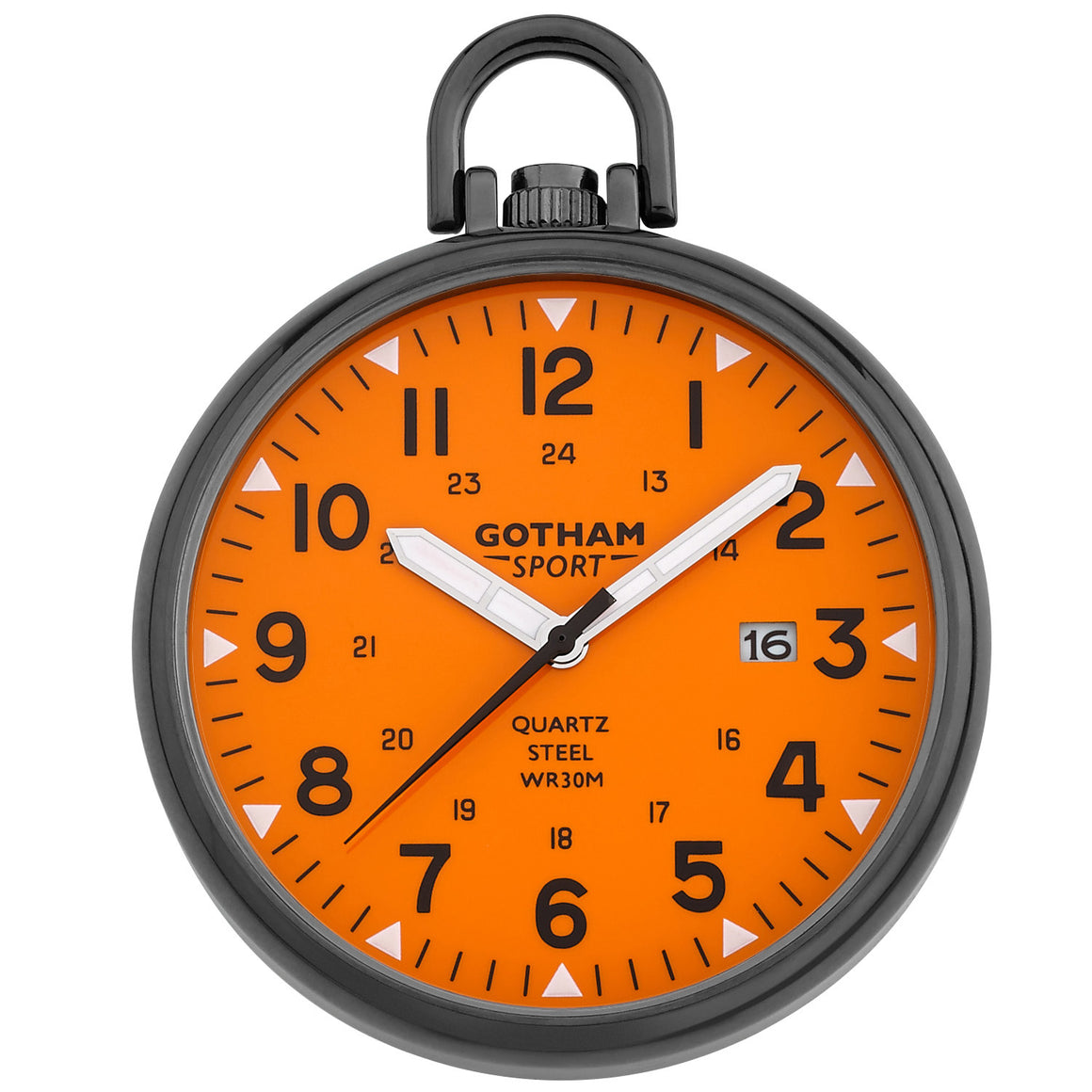 Gotham Men's Sport Series Gunmetal Stainless Steel Analog Quartz Date Pocket Watch # GWC14109BO
