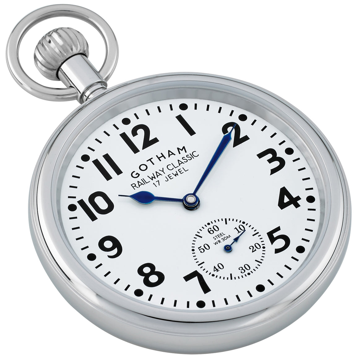 Gotham Men's Silver-Tone Stainless Steel 30M WR Mechanical Hand Wind Railroad Pocket Watch # GWC14104s - Gotham Watch