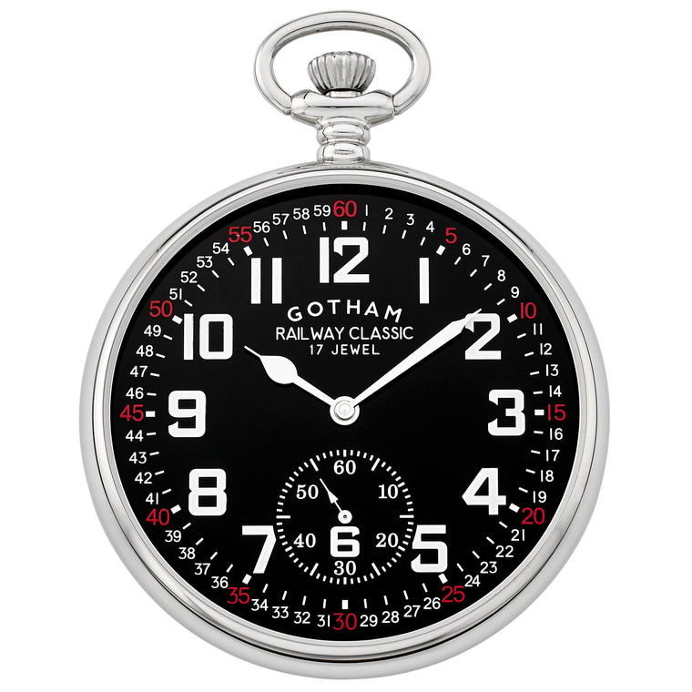 Gotham Men's Silver-Tone Mechanical Hand Wind Railroad Pocket Watch # GWC14103SB - Gotham Watch