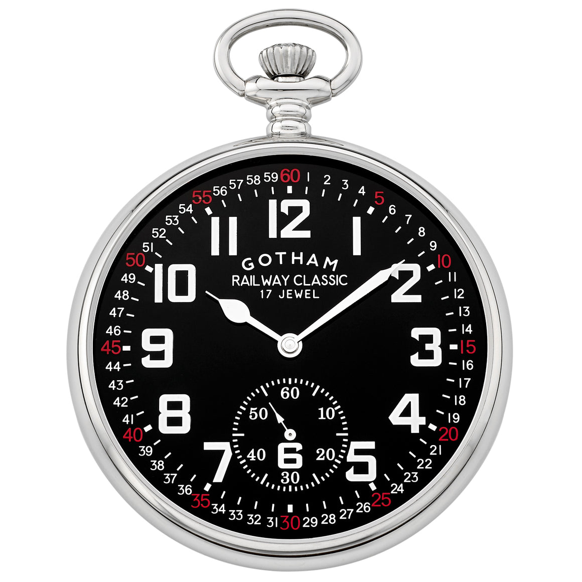 Gotham Men's Silver-Tone Mechanical Hand Wind Railroad Pocket Watch # GWC14103SB