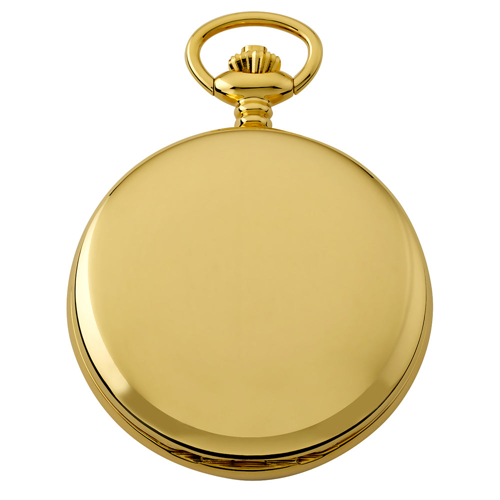 Gotham Men's Gold-Tone Double Hunter Deluxe 17 Jewel Mechanical Pocket Watch # GWC18805G - Gotham Watch