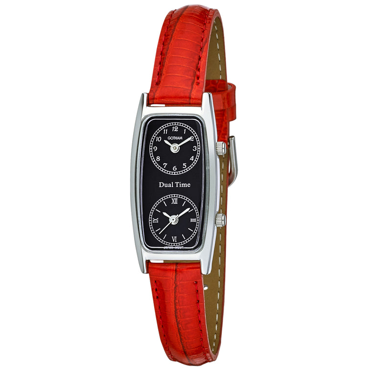 Gotham Women's Silver-Tone Dual Time Red Leather Strap Watch # GWC15093SBR - Gotham Watch