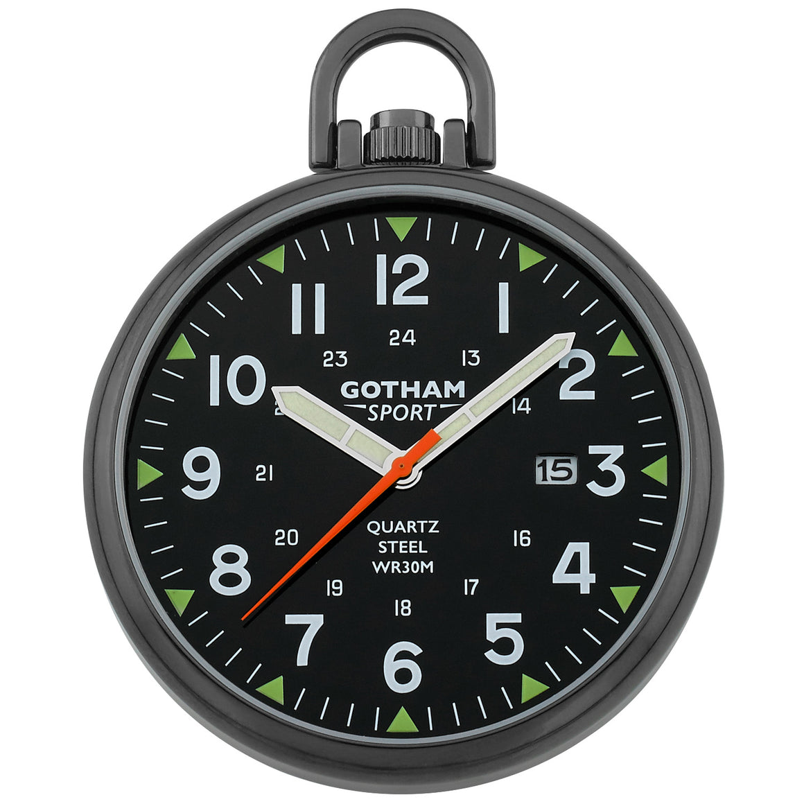 Gotham Men's Sport Series Gun-Plated Stainless Steel Analog Quartz Date Pocket Watch # GWC14109BBK - Gotham Watch