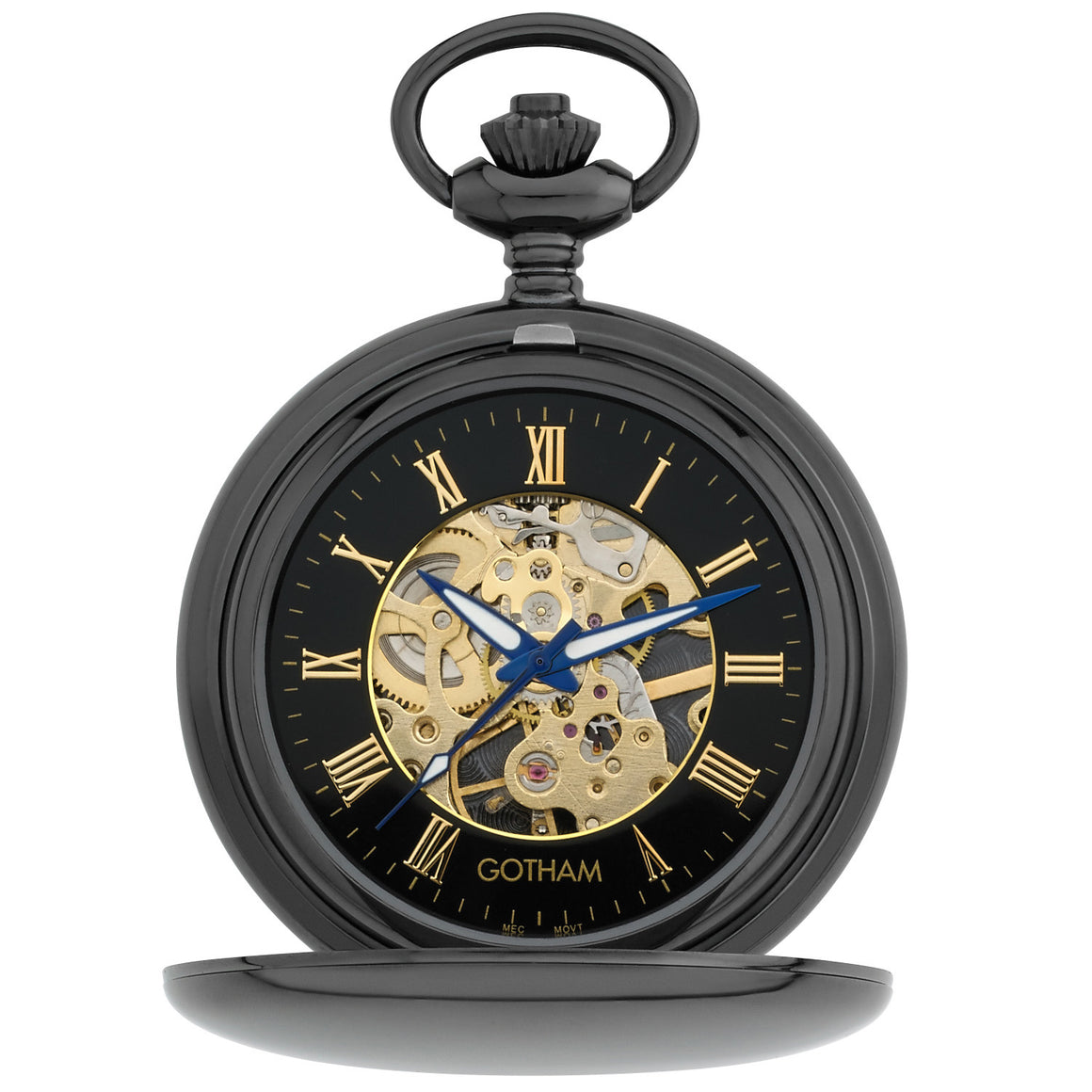 Gotham Men's Gun-Tone 17 Jewel Mechanical Double Hunter Pocket Watch # GWC14050BBK