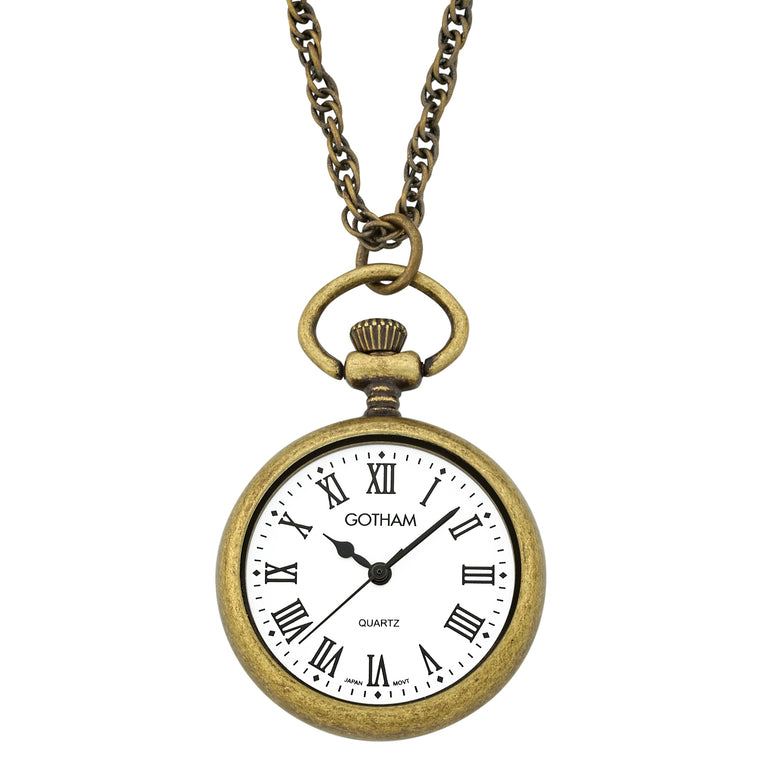 Gotham Women's Antique Gold-Tone Open Face Pendant Watch With Chain # GWC14136AR