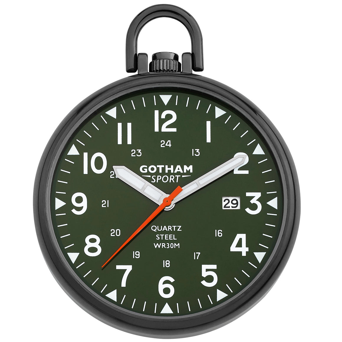 Gotham Men's Sport Series Gunmetal Stainless Steel Analog Quartz Date Pocket Watch # GWC14109BG