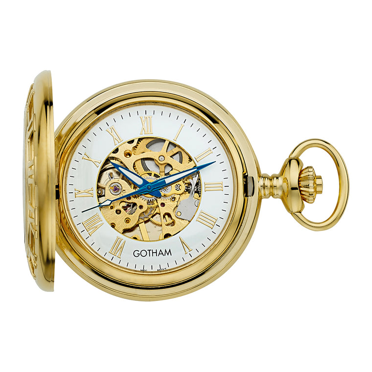 Gotham Men's Gold-Tone 17 Jewel Mechanical Covered Pocket Watch # GWC14091G