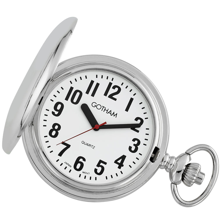 Gotham Men's Silver-Tone Low Vision Bold Number Polished Finish Covered Quartz Pocket Watch # GWC15045S - Gotham Watch