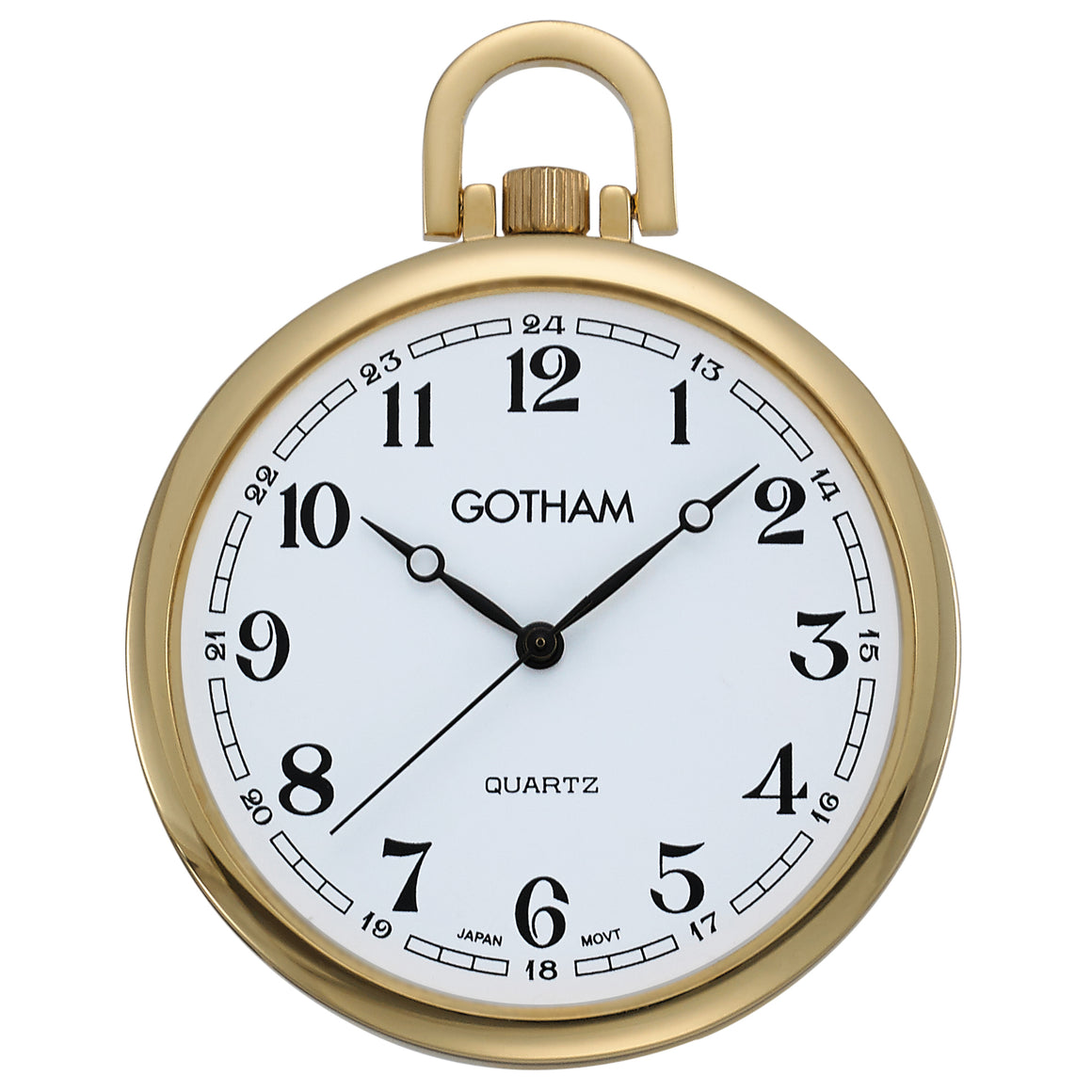 Gotham Men's Gold-Tone Slim Railroad Open Face Quartz Pocket Watch # GWC15028GA - Gotham Watch