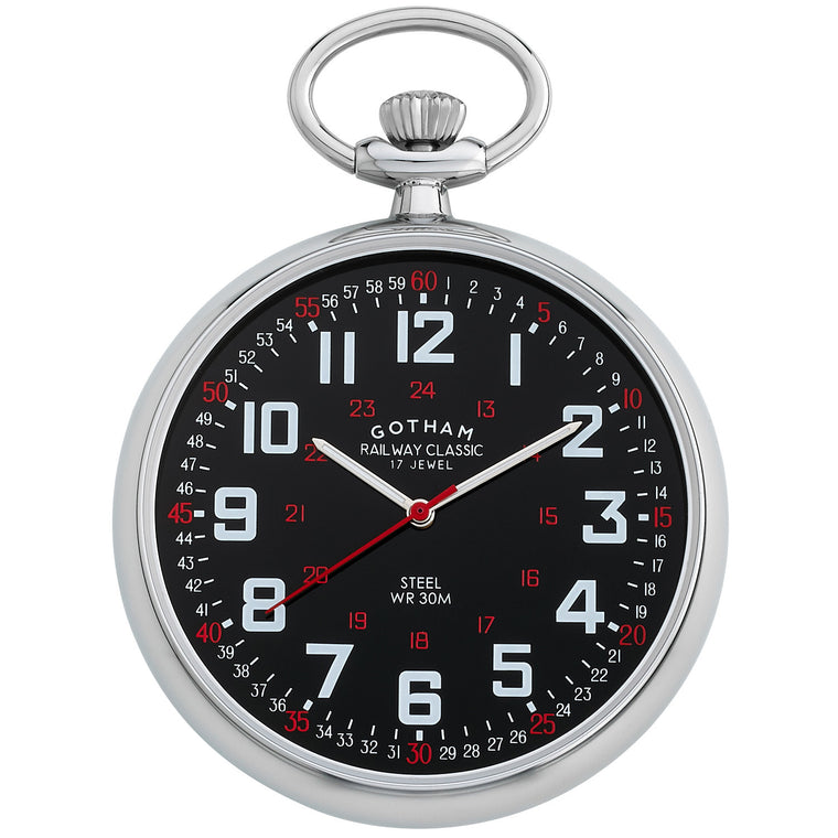 Gotham Men's Stainless steel Mechanical Hand Wind Railroad Pocket Watch # GWC14100SB