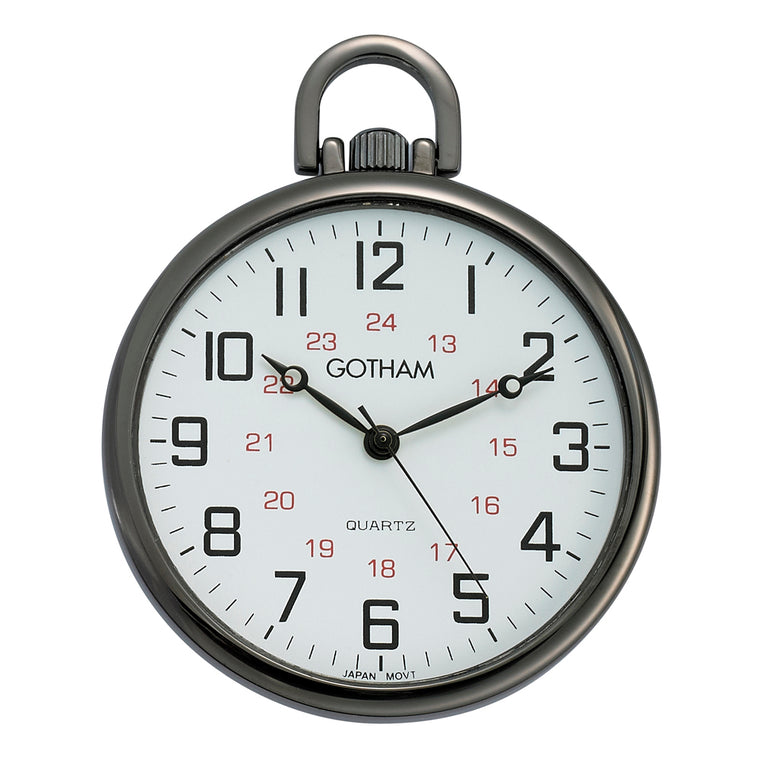 Gotham Men's Gunmetal Ultra Thin Railroad Open Face Quartz Pocket Watch # GWC15026B