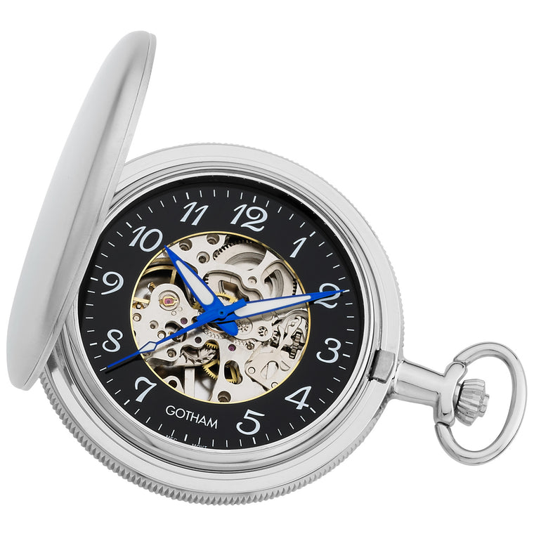 Gotham Men's Silver-Tone Satin Mechanical Skeleton Hunter Pocket Watch # GWC14060SA