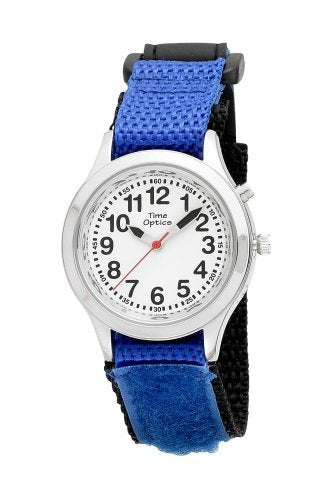 TimeOptics Boy's Talking Silver-Tone Day Date Alarm Fast Wrap Strap Watch # GWC305