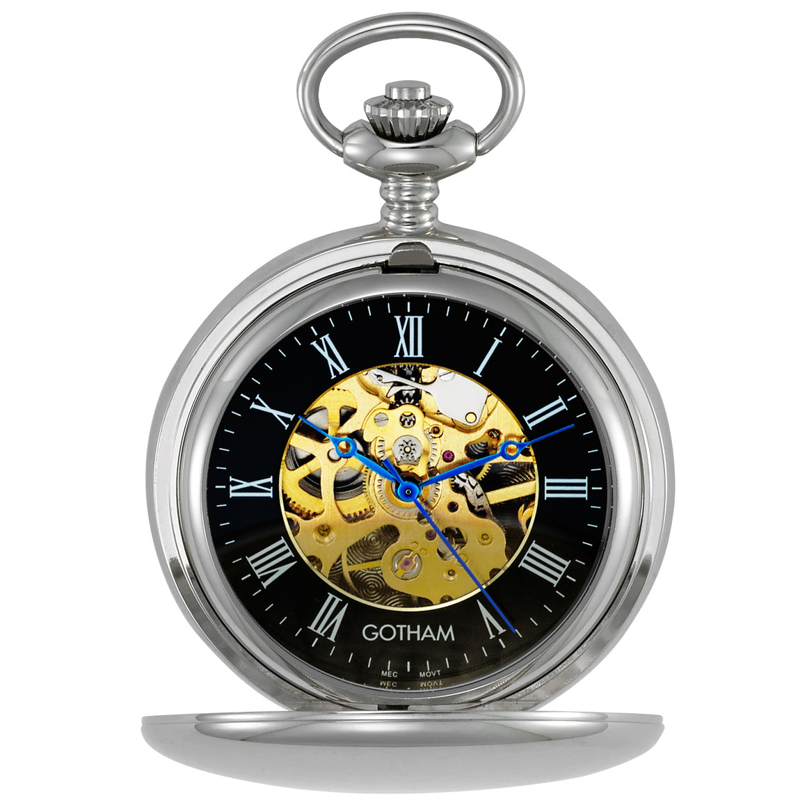 Gotham Men's Silver-Tone 17 Jewel Mechanical Double Hunter Pocket Watch # GWC14050SBG - Gotham Watch