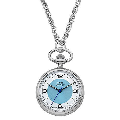 TimeOptics Women's Silver-Tone Quartz Pendant Watch Blue Sunray Dial # GWC1700B - Gotham Watch
