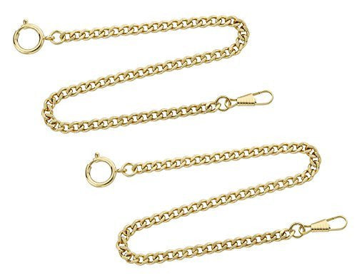"Gotham Set of Two Gold-Tone Pocket Watch Chains Fob Curb Link 14"" # GWCGTLCHAIN-2SET - Gotham Watch"