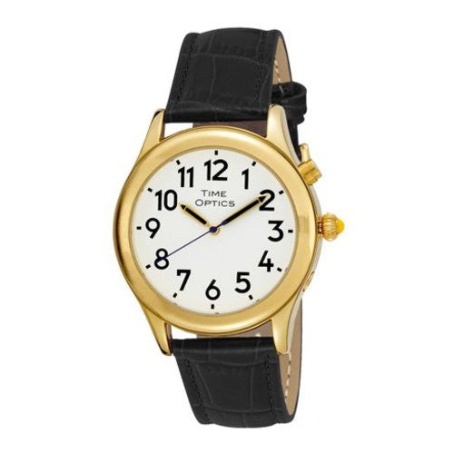 TimeOptics Men's Talking Gold-Tone Day Date Alarm Leather Strap Watch # GWC128GBK