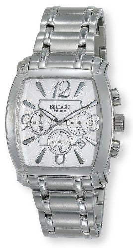 Bellagio Mens Stainless Steel Chronograph Date Bracelet Watch # GWC12042-1S - Gotham Watch