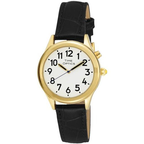 TimeOptics Women's Talking Gold-Tone Day Date Alarm Leather Strap Watch # GWC101GBK - Gotham Watch