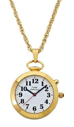 TimeOptics Women's Talking Gold-Tone Pendant Day-Date Alarm Watch # GWC300G - Gotham Watch