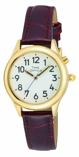 TimeOptics Women's Talking Gold-Tone Day-Date Alarm Leather Strap Watch # GWC101G - Gotham Watch