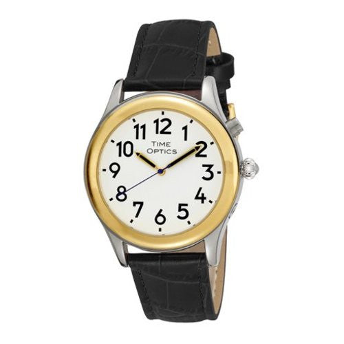 TimeOptics Men's Talking Two-Tone Day Date Alarm Leather Strap Watch # GWC128TBK - Gotham Watch