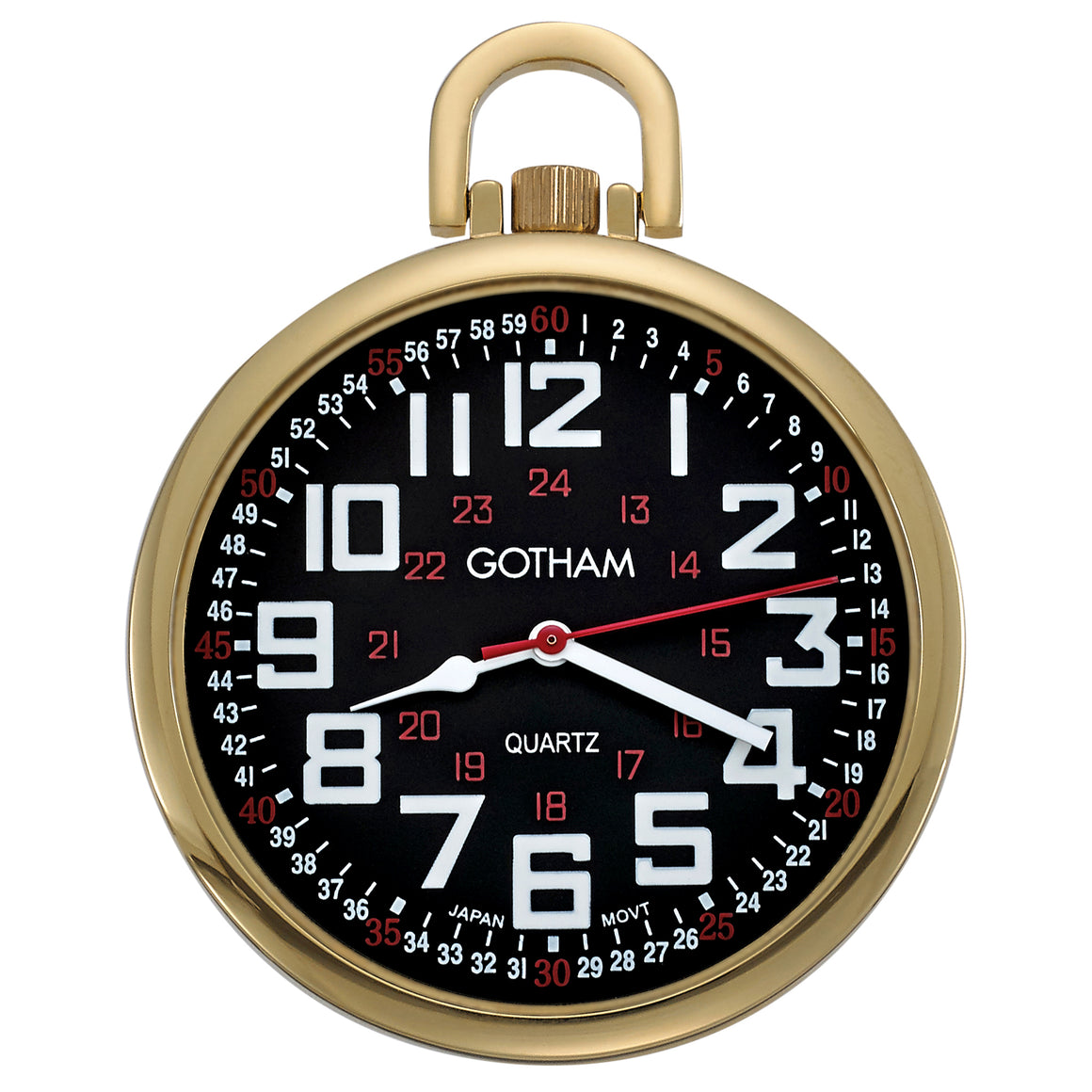 Gotham Men's Gold-Tone Slim Railroad 24 Hour Open Face Quartz Pocket Watch # GWC15029GBK - Gotham Watch