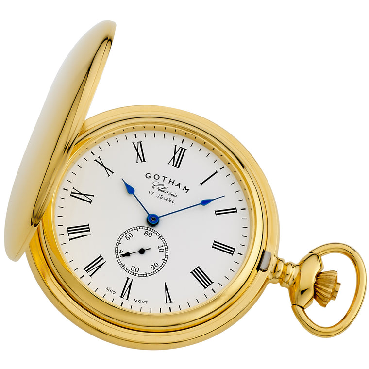Gotham Men's Gold-Tone Double Hunter Deluxe 17 Jewel Mechanical Pocket Watch # GWC18805GR