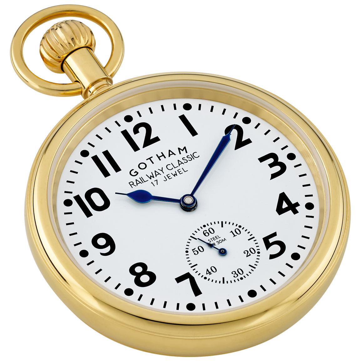 Gotham Men's Gold Plated Stainless Steel 30M WR Mechanical Railroad Pocket Watch # GWC14104G - Gotham Watch