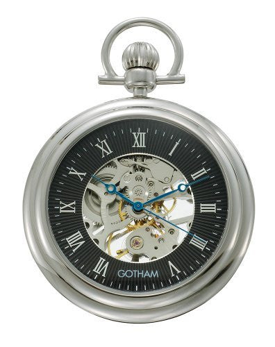 Gotham Men's Silver-Tone Mechanical Pocket Watch with Desktop Stand # GWC14055SB-ST - Gotham Watch
