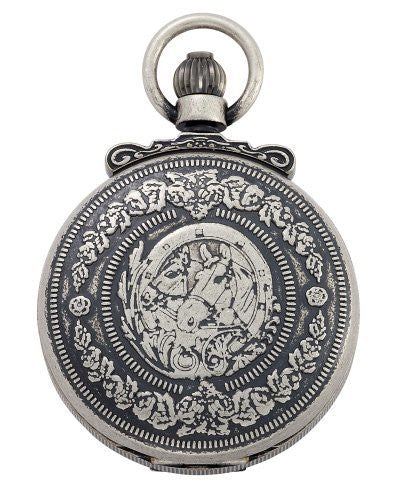 Gotham Men's Antique Silver-Tone Double Cover Exhibition Mechanical Pocket Watch # GWC14064S - Gotham Watch