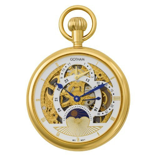 Gotham Men's Gold-Tone Mechanical Dual Time Zone Pocket Watch with Desktop Stand # GWC14046G-ST - Gotham Watch