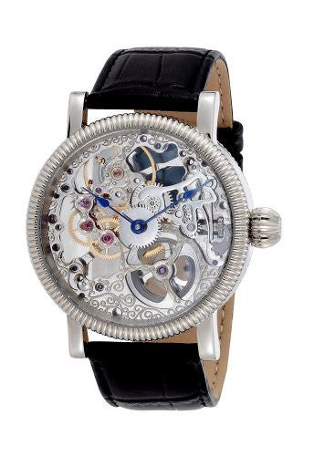 Gotham Men's Stainless Steel Mechanical Skeleton Leather Strap Watch # GWC14058S - Gotham Watch