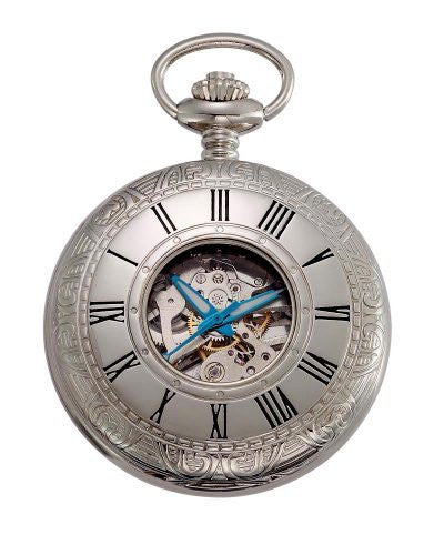 Gotham Men's Silver-Tone Mechanical Pocket Watch with Desktop Stand # GWC14036S-ST - Gotham Watch