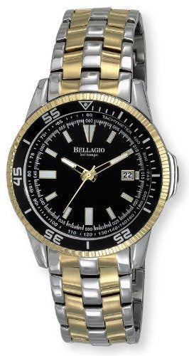 Bellagio Men's Stainless Steel Diver Unidirectional Bezel 5 ATM WR Date Bracelet Watch # GWC12048-3