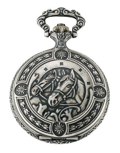 Gotham Men's Silver-Tone Horse Design Day-Date Quartz Covered Pocket Watch # GWC14086S - Gotham Watch